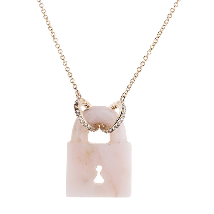 Pink Opal Fixed PadLock Necklace