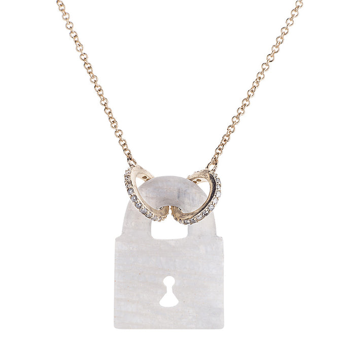 Rainbow Moonstone Fixed PadLock Necklace