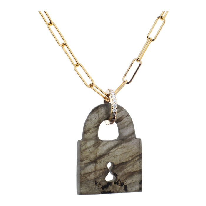 Labradorite Padlock Necklace on Link Chain
