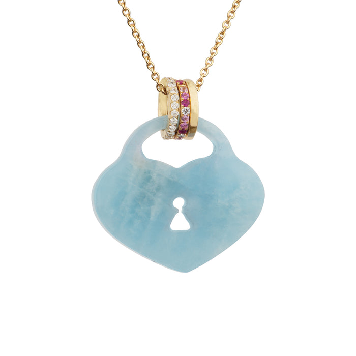Aquamarine Heart Padlock Necklace with Pavé Diamond, Pink Sapphire and Gold Bails