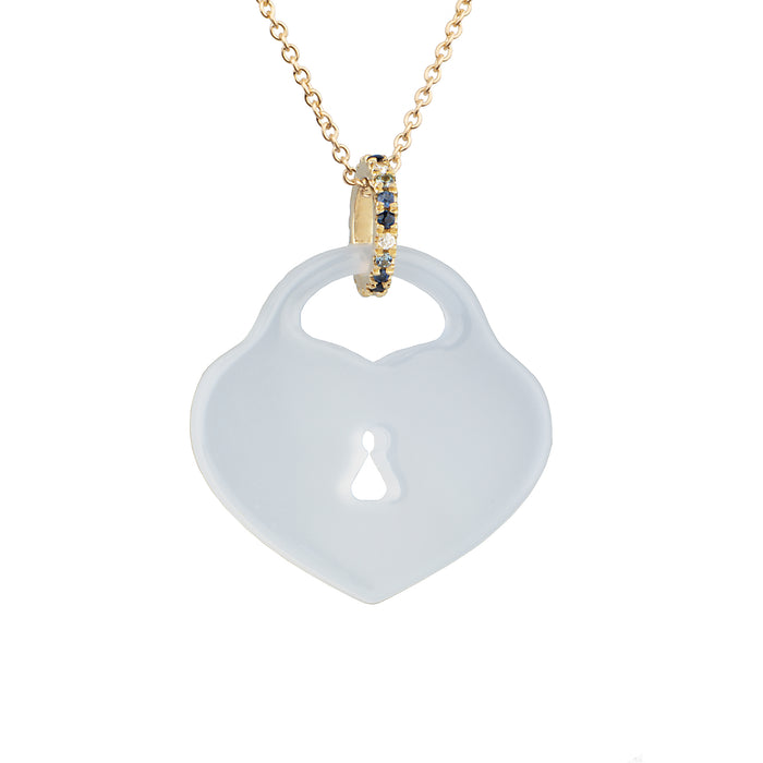 Blue Chalcedony Heart Padlock Necklace with Ombré Blue Sapphire and Diamond Bail
