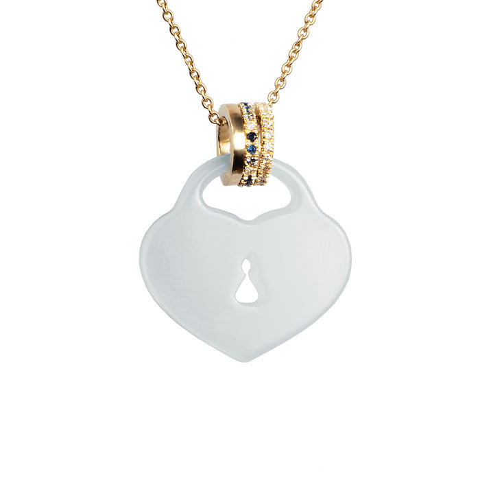 Blue Chalcedony Heart Padlock Necklace with Pavé Diamond, Blue Sapphire and Gold Bails