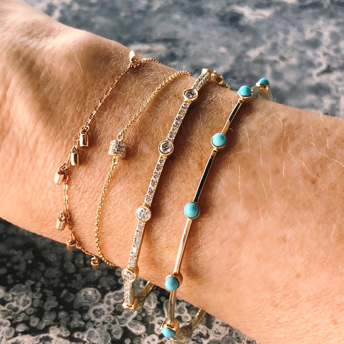 Turquoise Stones Bangle Bracelet