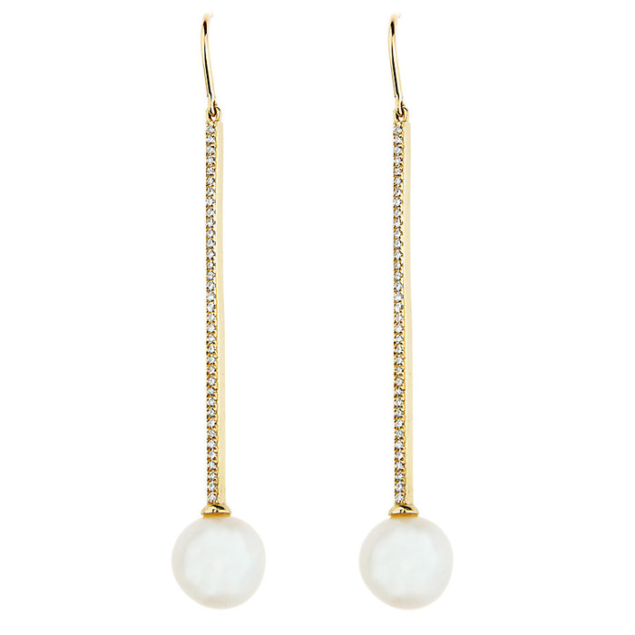 Diamond Candy Bar & Pearl BonBon Dangle Earrings