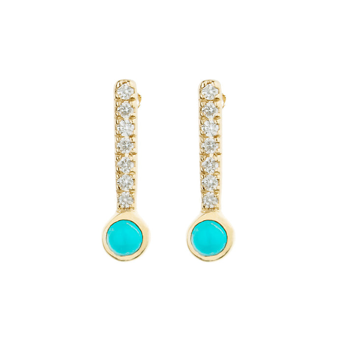 Diamond and Turquoise Sticks & Stones Stud Earring