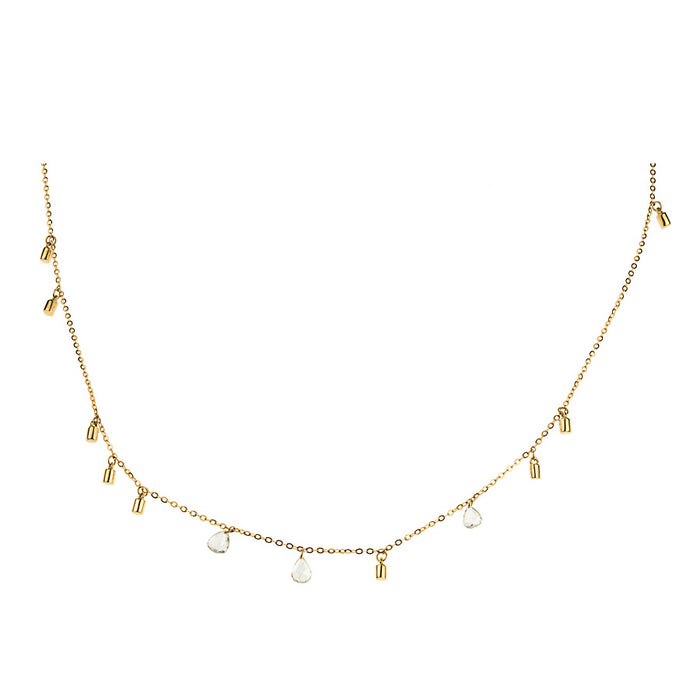 "Gold Fairy Dust 16"" Necklace with Three Floating Diamonds"