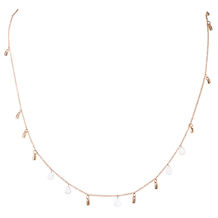"Gold Fairy Dust 16"" Necklace with Five Floating Diamonds"