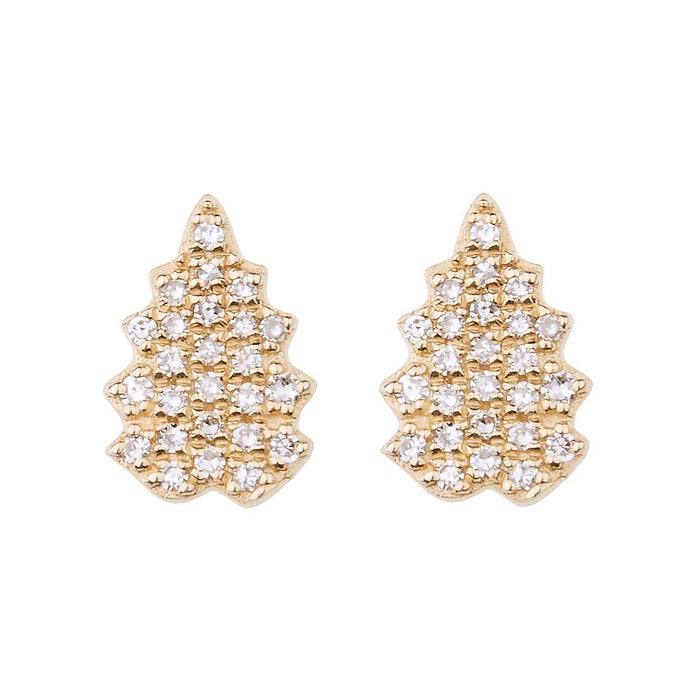 Fern Pave Diamond Stud Earrings