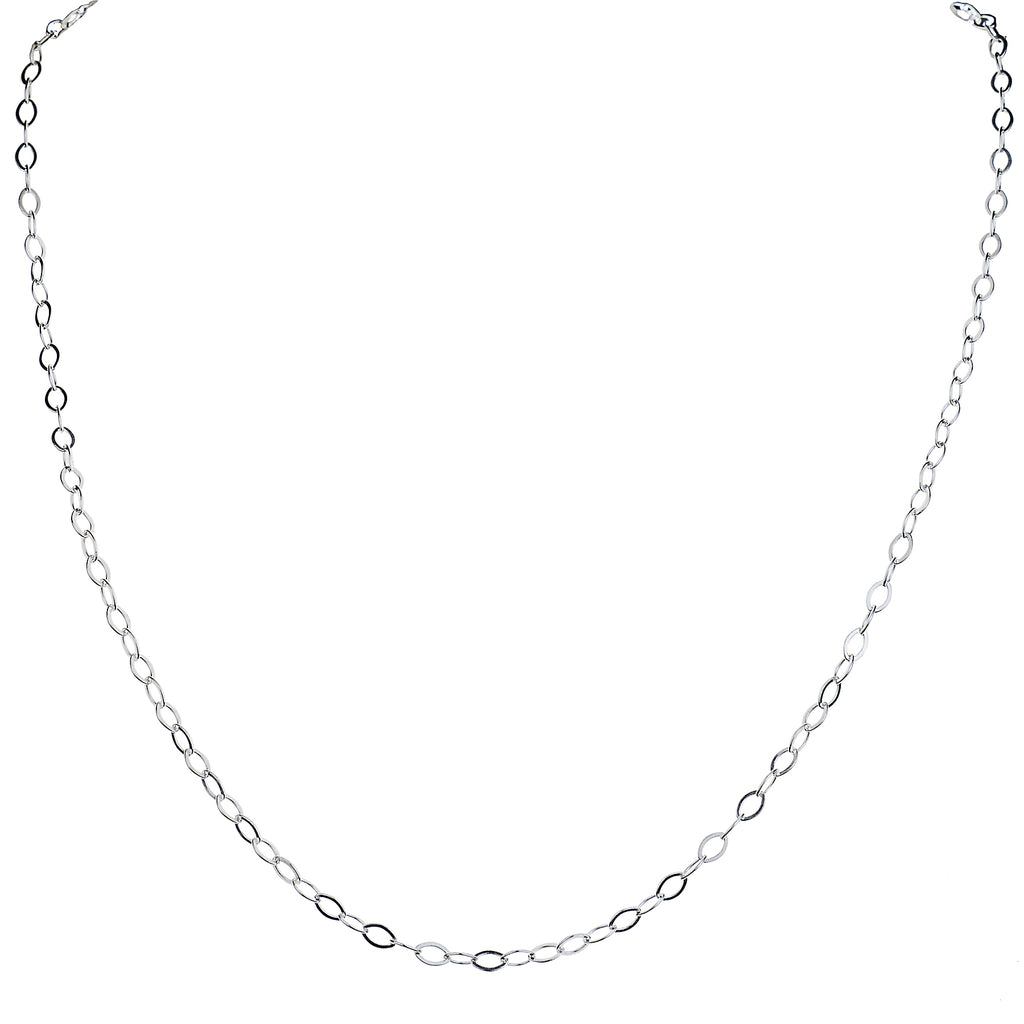 Small Flat Cable Chain in Sterling Silver
