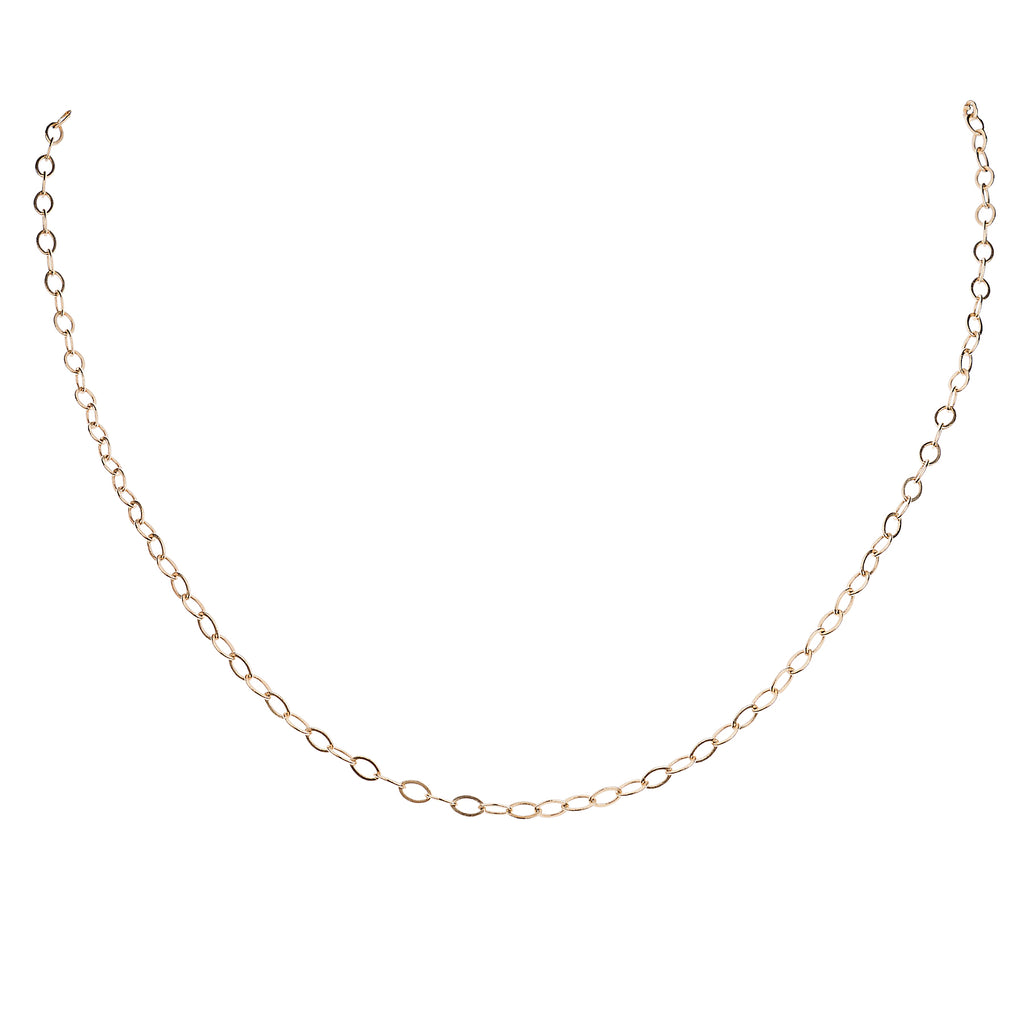 Small Flat Cable Chain in 14k Gold