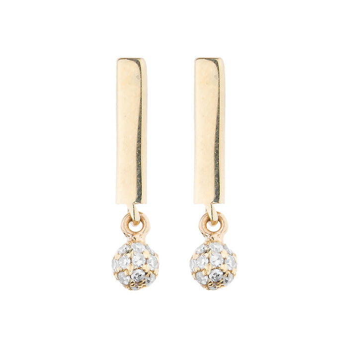 Gold Candy Bar & Diamond BonBon Stud Earring