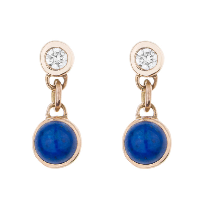 Diamond & Lapis BonBon Stud Earring