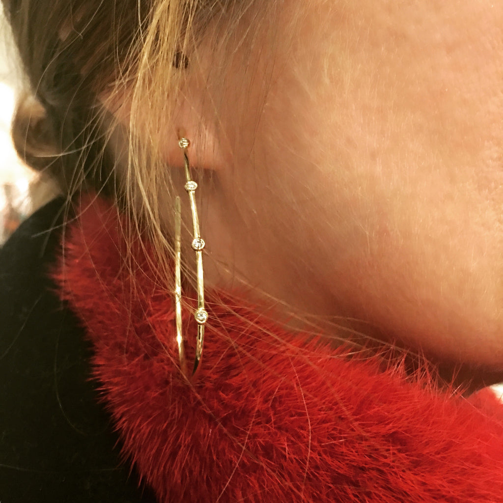 Stones Teardrop Hoop Earrings