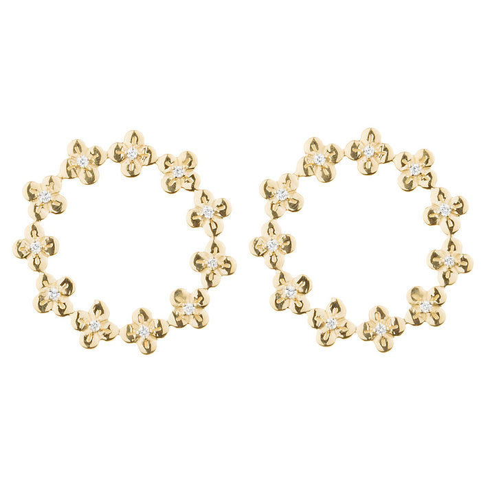 Jeweled Bloom Eternity Stud Earrings