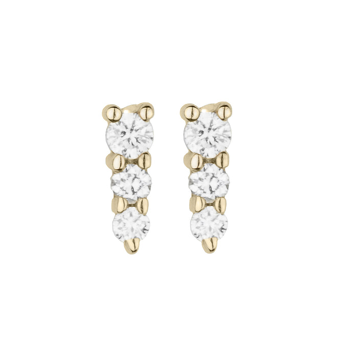 Mini Three Diamond Stud Earring