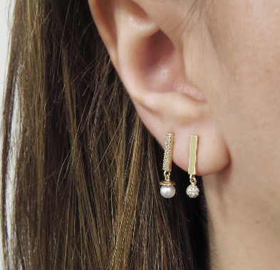 Diamond Candy Bar & Pearl BonBon Stud Earring