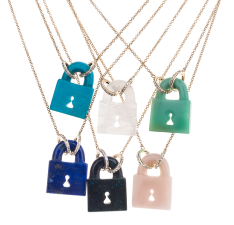 Lapis Fixed PadLock Necklace