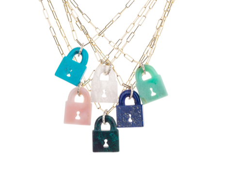 Lapis Padlock Necklace on Link Chain