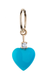 Small Sleeping Beauty Turquoise Heart and Diamond Charm