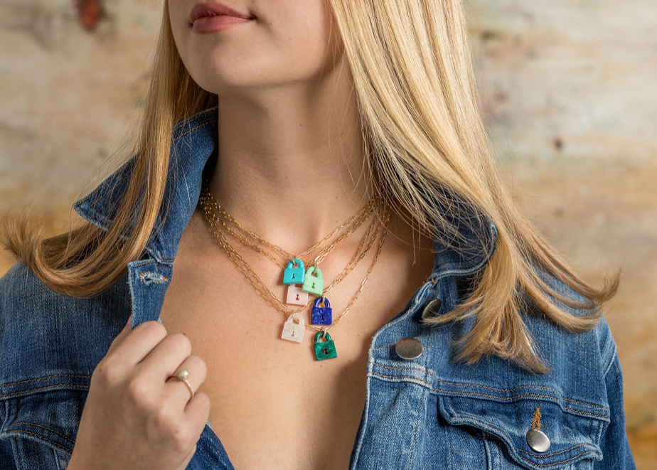 Azurite Malachite Pad Lock Necklace on Link Chain