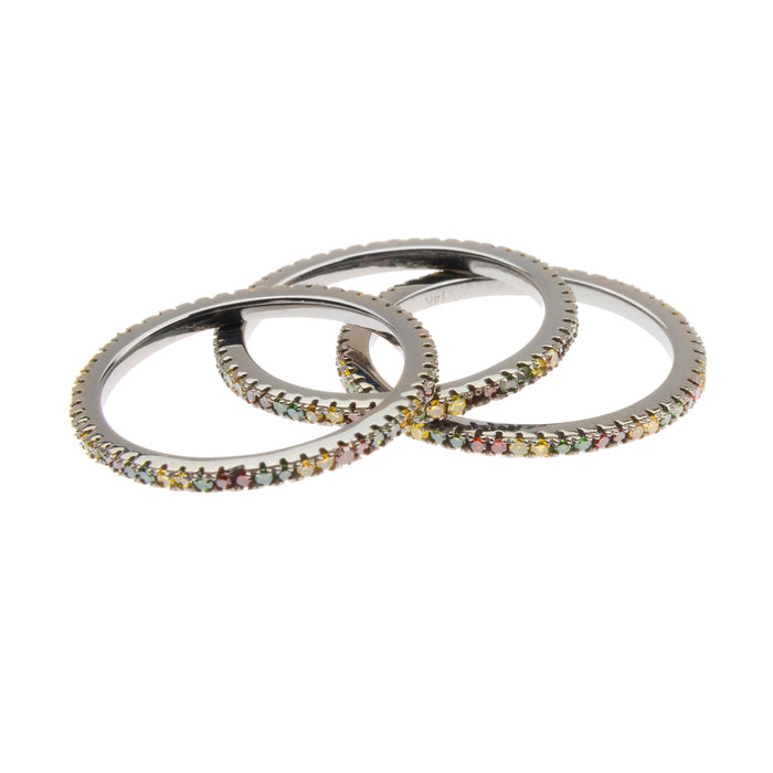 Rhodium Eternity Stacking Bands