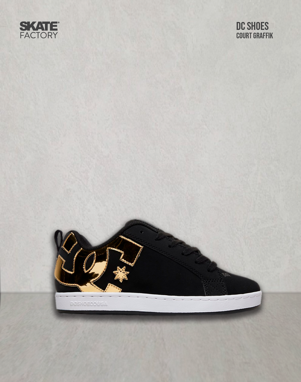 DC SHOES COURT GRAFFIK TENIS DAMA NEGRO ORO
