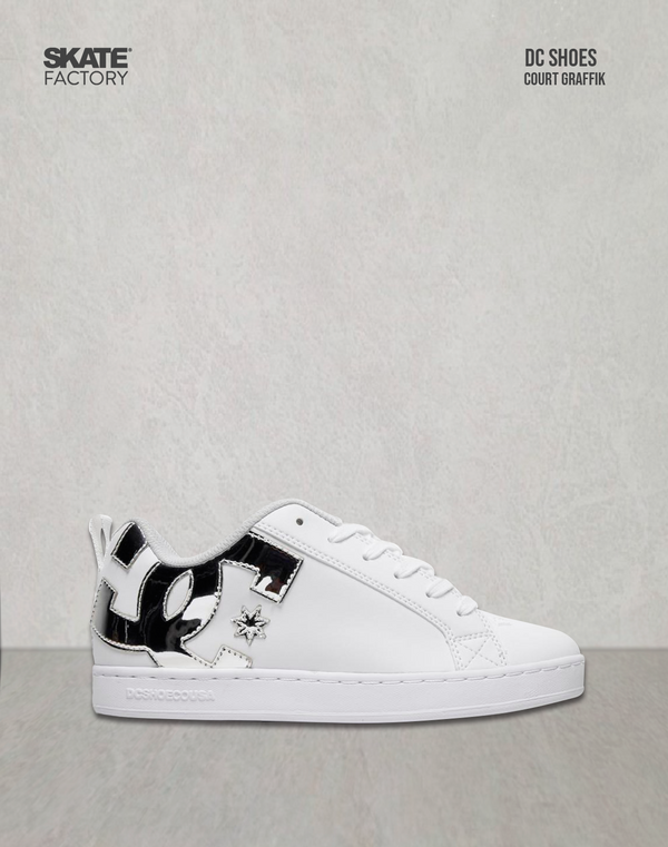 DC SHOES COURT GRAFFIK TENIS DAMA BLANCO PLATA