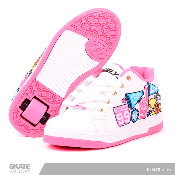HEELYS TENIS PATIN NIÑA TEAM SCHOOL BLANCO ROSA