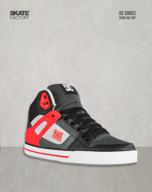 DC SHOES PURE HI TOP TENIS CABALLERO GRIS ROJO PIEL