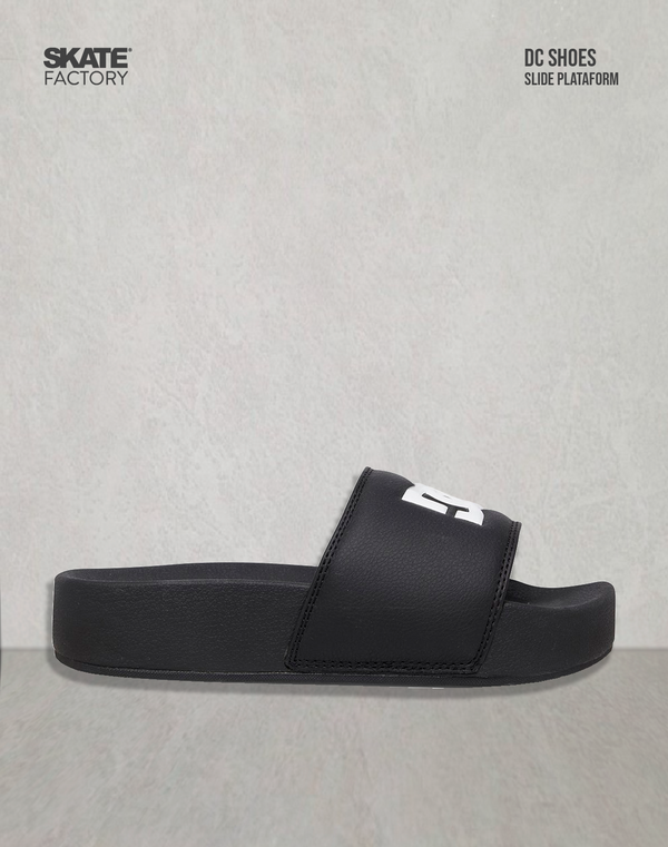 SLIDES PLATAFORMA DAMA DC SHOES NEGRO BLANCO