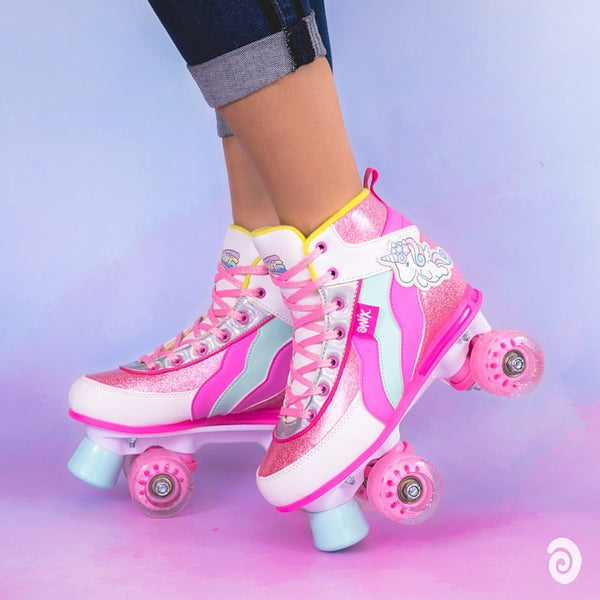 PATINES QUADS UNICORNIO ONIX COLOR ROSA CON BRILLOS