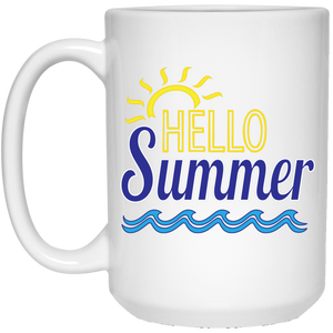 Hello Summer 15 oz. White Mug
