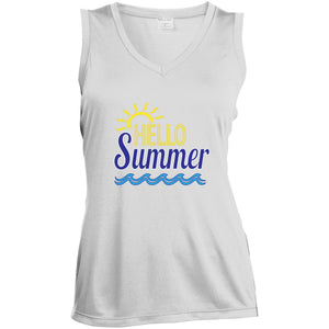 Hello Summer Ladies' Sleeveless Moisture Absorbing V-Neck