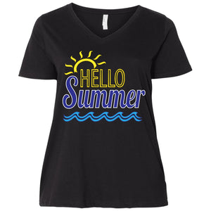 Hello Summer  Ladies' Curvy V-Neck T-Shirt