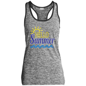 Hello Summer Ladies' Moisture Wicking Electric Heather Racerback Tank