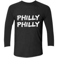 Philly Philly Tri-Blend 3/4 Sleeve Baseball Raglan T-Shirt