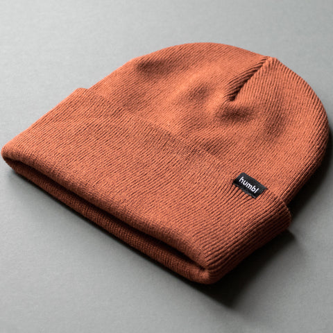 humbl rust orange red coloured streetwear beanie hat