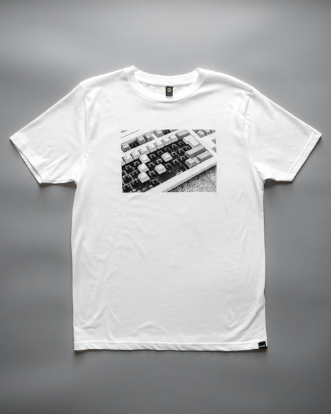 humbl streetwear tee with black and white keyboard typo photo from above