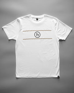 humbl white and gold streetwear t-shirt