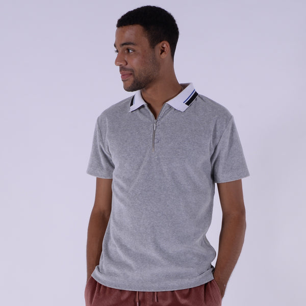 Velour Zip Polo (Heather Grey)