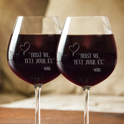 Text Your Ex Wine Glasses