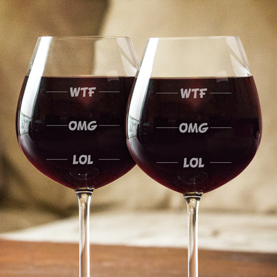WTF OMG LOL Wine Glasses