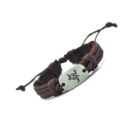Genuine Leather Peace Turtle Bracelet - FREE