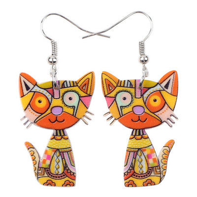 Drop Cat Acrylic Earrings
