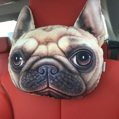 Dog Face 3D Car Headrest Pillows