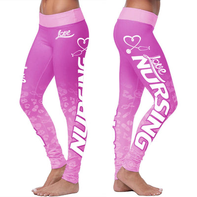 Love Nursing Pink Leggings