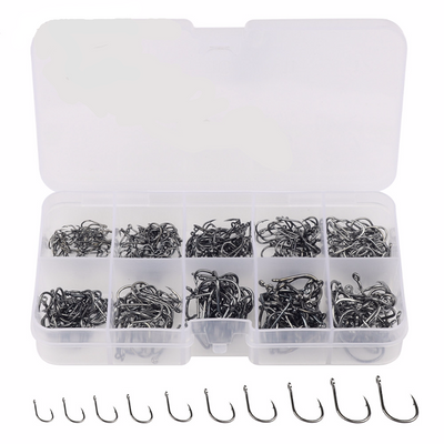500pcs Black Carbon Steel Fishing Hooks 3# -12# 10 Sizes Plus Fishing Tackle Box