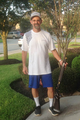 Ed Ramsey, Skeet Shooter wearing pearl Slub Knit with Navy GrypVyn