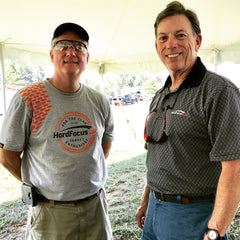 Wendell Elrod wearing HardFocus Vintage Tee with Orange GrypVyn and Richard Duell wearing the slate Diamond Polo at the 2017 NSCA US OPEN in Gay GA.