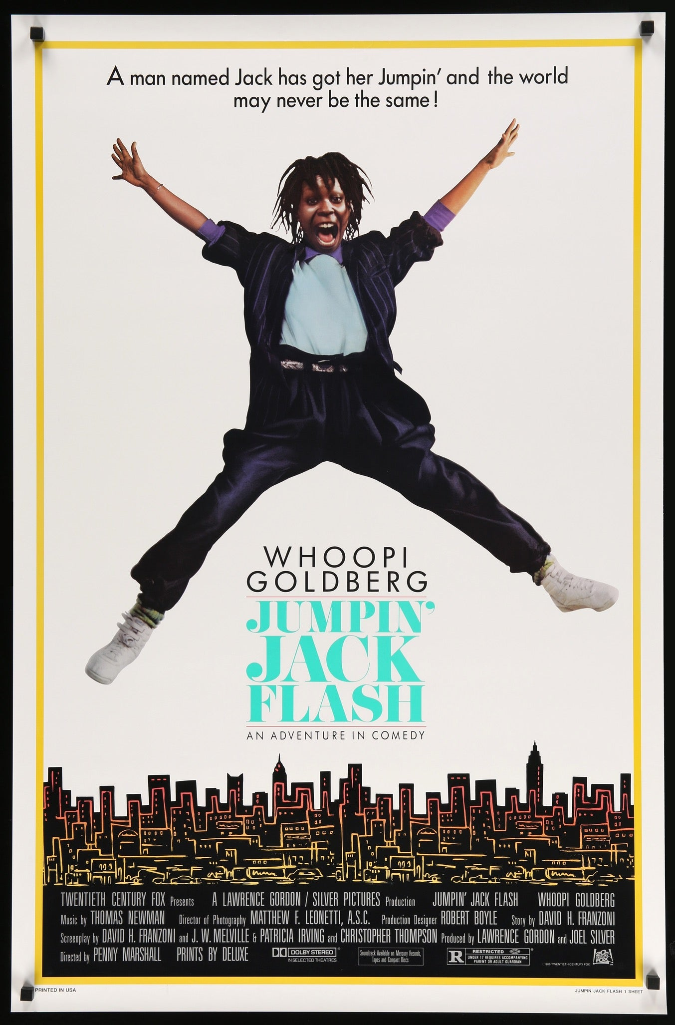 Jumpin' Jack Flash (1986) Original One-Sheet Movie Poster - Original Film  Art - Vintage Movie Posters